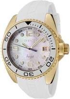 Invicta 0484 Women's Angel MOP Dial Yellow Gold Steel White Rubber Strap Watch