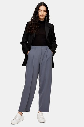 Topshop Womens Elastic Back Slouch Peg Trousers - Blue