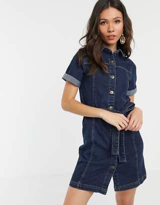 Pieces denim shirt dress in mid blue wash