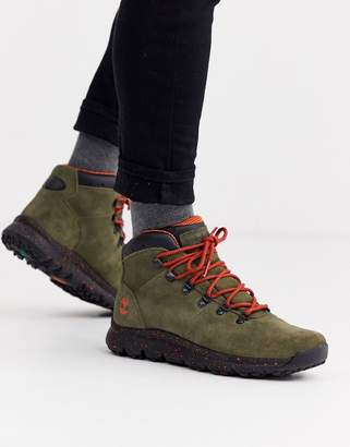 Timberland world hiker boots in khaki suede-Green