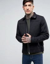 Farah Hopsack Work Jacket In Black