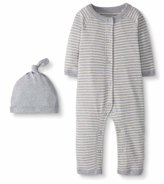 Moon and Back by Hanna Andersson Baby Snap Front One-Piece Organic Cotton Long Sleeve Romper with Cap Set
