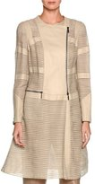 Giorgio Armani Striped Leather Asymmetric-Zip Jacket, Ivory