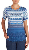 Allison Daley Wide Crew-Neck Blue Stripe Print Knit Top