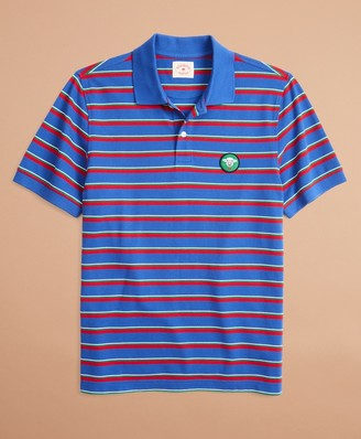 Brooks Brothers Striped Pique Patch Polo Shirt