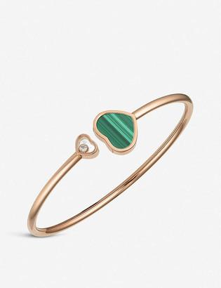 Chopard Happy Hearts 18ct rose-gold malachite and diamond bangle bracelet