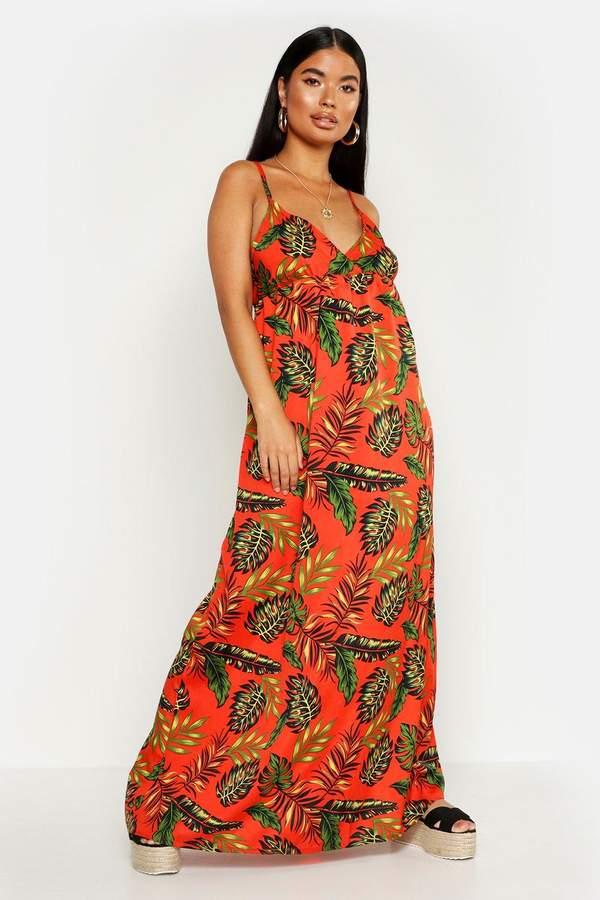 boohoo Petite Cross Back Woven Tropical Print Maxi Dress