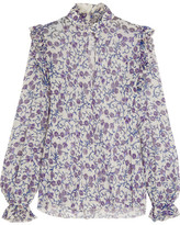 Giambattista Valli Ruffled Printed Silk-georgette Blouse - Purple
