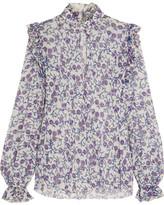 Giambattista Valli Ruffled Printed Silk-georgette Blouse - Purple
