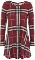 Quiz Burgundy Knit Check Long Sleeve Tunic Dress