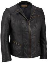 Black Rivet Womens Plus Size Multi-Seamed Leather Scuba