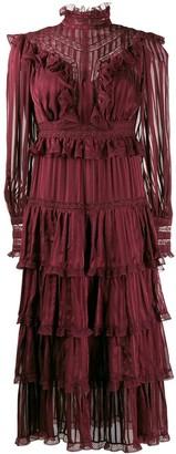 Zimmermann striped ruffle midi dress