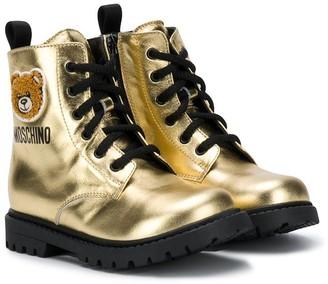 MOSCHINO BAMBINO Teddy Bear metallic lace-up boots