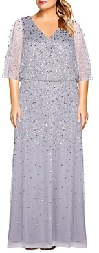 Adrianna Papell Plus Size Beaded Flutter Sleeve Dress