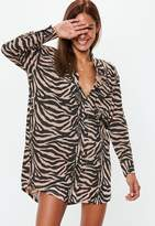 Missguided Rust Oversized Zebra Print Jersey Shirt Dress