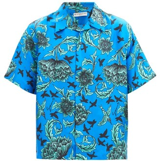 Givenchy Floral-print Silk Shirt - Blue