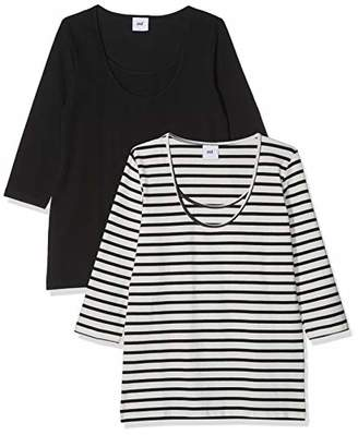 Mama Licious Mamalicious Women's Mllea Org Nell 3/4 Mix Top Nf 2pack A. O Long Sleeve, Multicolour Pack: Snow White W/Black Stripes, 14 (Size: Large) (Pack of 2)