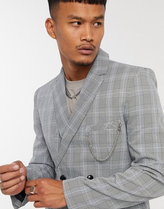 Mauvais double breasted check blazer with chain in grey