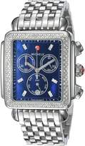 Michele Women's 'Deco Xl' Swiss Quartz Stainless Steel Casual Watch, Color:Silver-Toned (Model: MWW06Z000033)