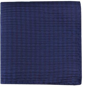 Tie Bar Silk Seersucker Solid Navy Pocket Square