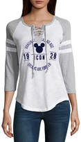Freeze 3/4 Sleeve V Neck Mickey Mouse T-Shirt- Juniors