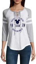 Freeze 3/4 Sleeve V Neck Mickey Mouse T-Shirt-Womens Juniors