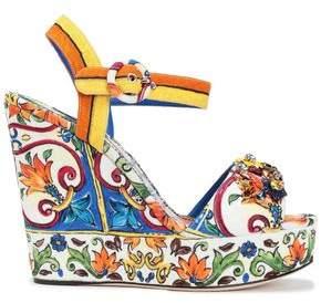 6048bd457 Dolce & Gabbana Bianca Crystal-embellished Printed Jacquard Wedge Sandals