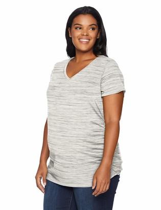 Motherhood Maternity Women's Maternity Plus Size Short Sleeve V-Neck Side Ruched Tee Shirt