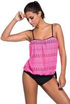 Mushuji Womens Strapless Bandeau Blouson Pullover 2pcs Sporty Tankini Swimsuit with Swim Bottom Bathing Suit