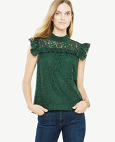 Ann Taylor Lace Mock Neck Sleeveless Top
