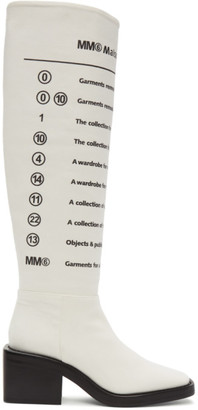 MM6 MAISON MARGIELA White Logo Print Tall Boots