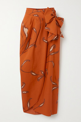 Johanna Ortiz Copper Eco Warrior Printed Cotton Wrap Skirt - Orange