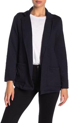 Gray La Notch Collar Textured Knit Dot Jacket