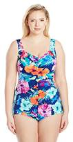 Maxine Of Hollywood Women's Azela Floral Spa V-Neck Shirred Girl Leg One Piece Swimsuit