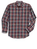 Thomas Dean Boy's Plaid Dress Shirt