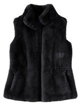 Classic Women's Petite Furry Textured Vest-Black