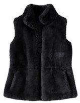 Lands' End Women's Petite Furry Textured Vest-Misty Lilac