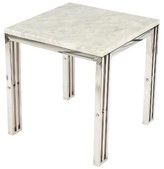 Mid-Century MODERN Control Brand Carrara Marble End Table with Stainless Steel Frame