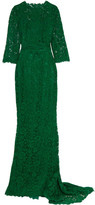 Dolce & Gabbana Crystal-embellished Corded Lace Gown - Emerald