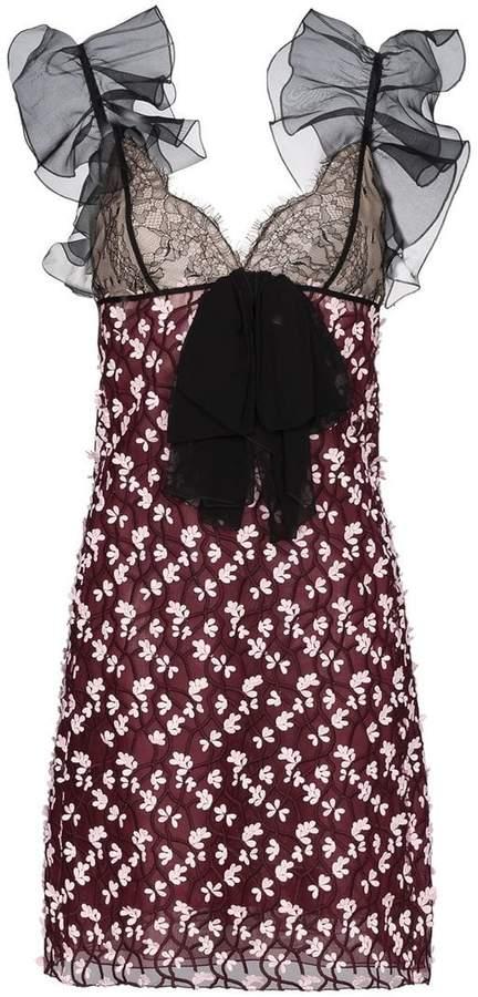 Giambattista Valli Silk Ruffle Sleeve Mini Dress