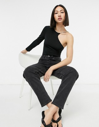 AX Paris chain one sleeve bodysuit in black
