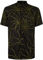 Topman Black and Khaki Print Short Sleeve Casual Shirt