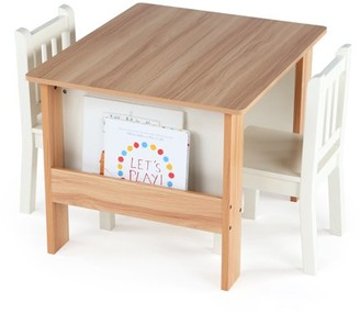 Humble Crew Tot Tutors Journey Kids Wood Table and 2 Chairs Set with Book Storage