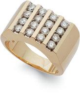 Macy's Men's Diamond Four-Row Ring in 10k Gold (1-1/2 ct. t.w.)