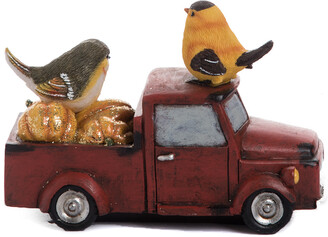 Transpac Resin 7In Red Harvest Birds On Truck