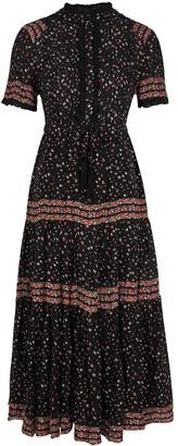 Free People Rare Feeling Floral-print Gauze Midi Dress