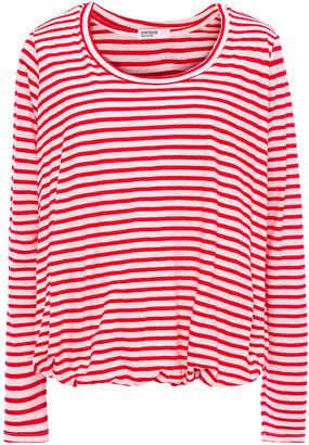 Stateside Gathered Striped Cotton-jersey Top