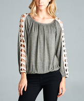Tua Taupe Gold & Lace-Accent Peasant Top
