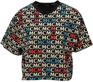 MCM Logo Print Cropped T-Shirt