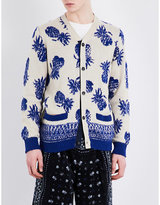 Sacai Pineapple-print Knitted Cardigan